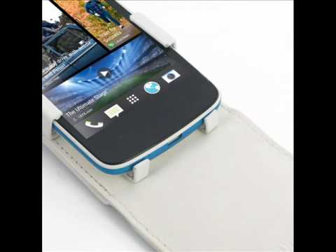 PDair Leather Case for HTC Desire 500 - Flip Top Type (White)