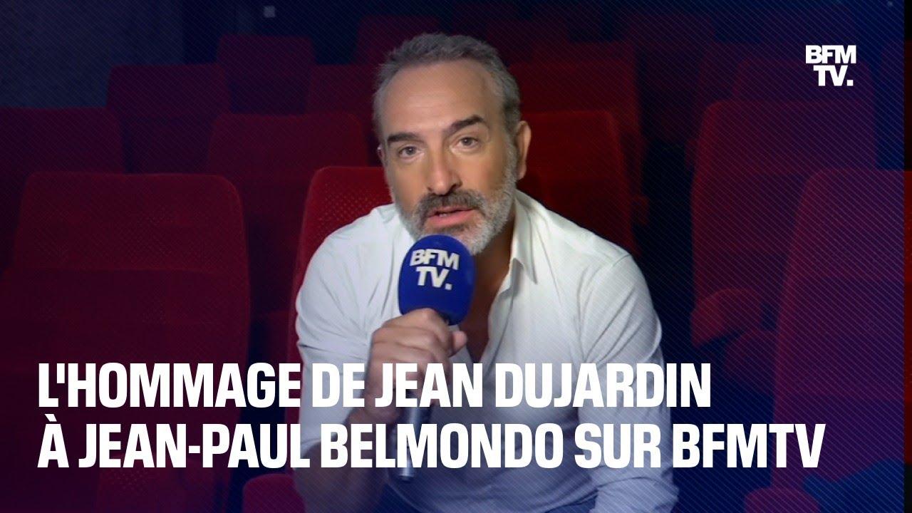 """On perd un guide"": l'hommage de Jean Dujardin à Jean-Paul Belmondo sur BFMTV"