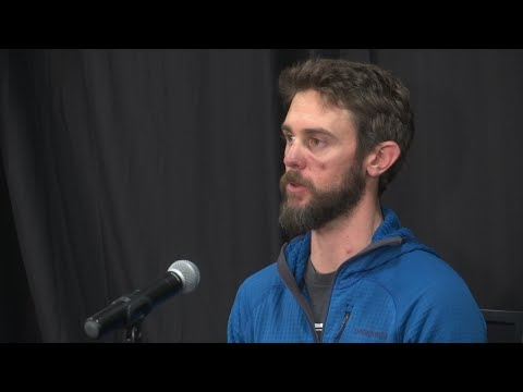 Bashing a mountain lion in the head with a rock didn't work, so Travis Kauffman changed his tactics and suffocated the cat by jamming his foot on its neck. Kauffman recounted the attack in a news conference 10 days after the attack. (Feb. 15)