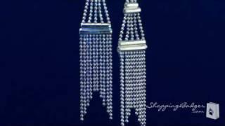 Sterling Silver Long Beaded Chandelier Earrings