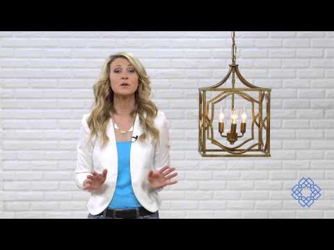 Video for Blakely Antique Gold Three Light Foyer- Antique Gold