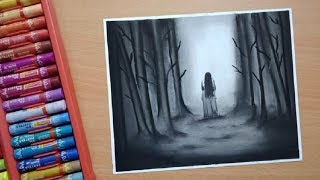 Scary Drawings - How To Draw Scary Ghost Scene With Oil Pastel || Horror Drawing