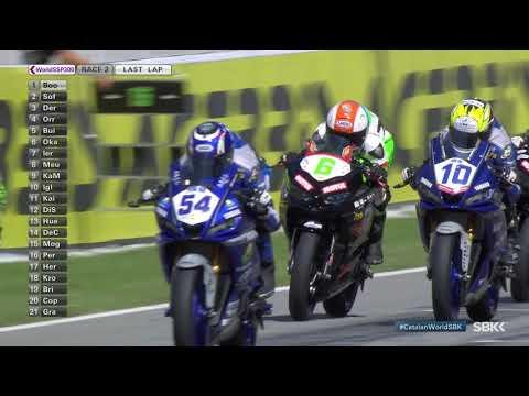スーパーバイク世界選手権 第6戦スペイン(カタルニア・サーキット)SSP300 決勝レース2の激しすぎるファーストラップのハイライト動画