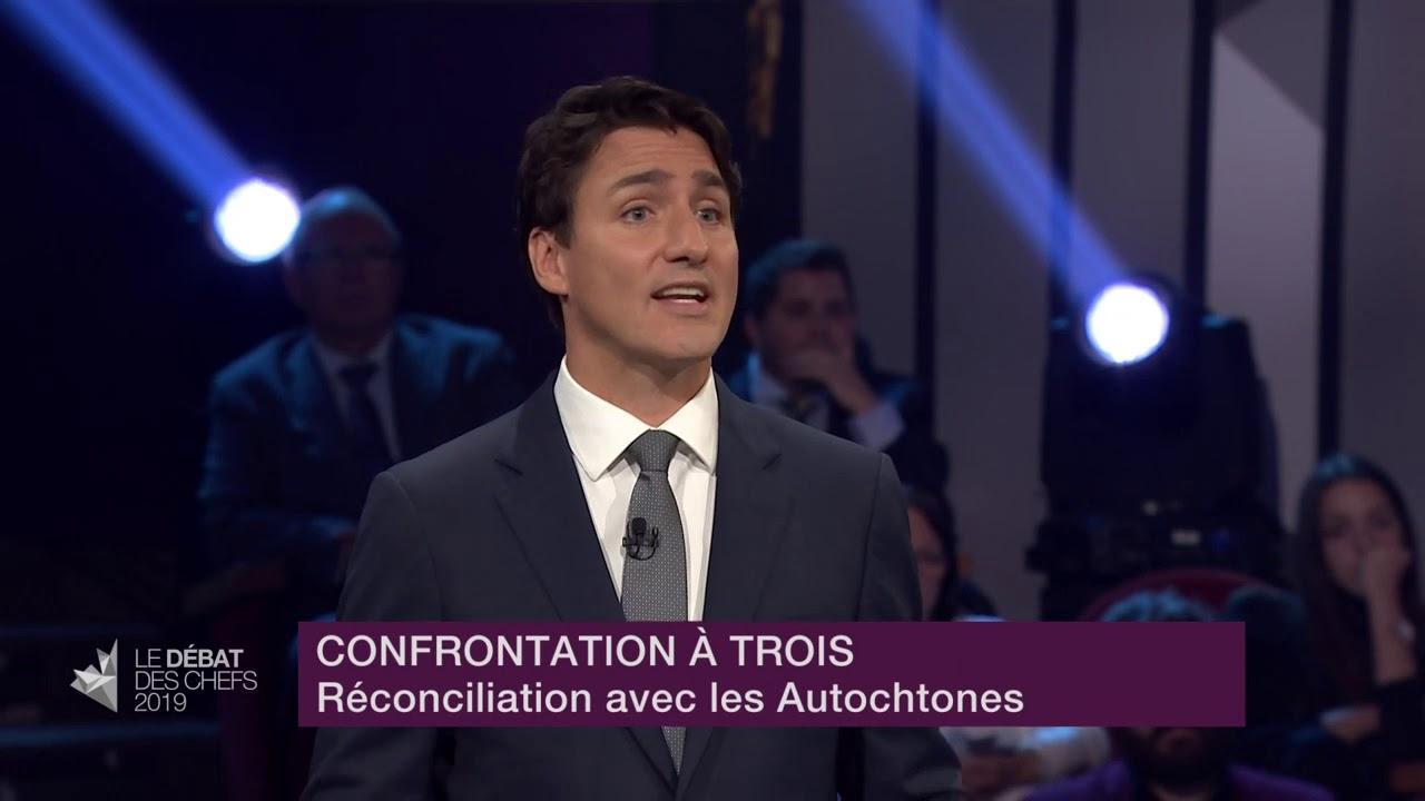 Maxime Bernier, Elizabeth May et Justin Trudeau débattent de la réconciliation avec les Autochtones