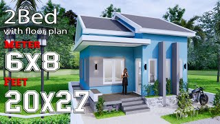 Small House Plans 6x8 Meter 20x27 Feet 2 Bedrooms Gable Roof Full Plans