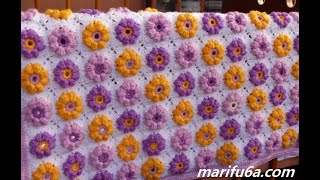 How To Crochet Easy Flower Blanket Afghan For Beginners Pattern By Marifu6a