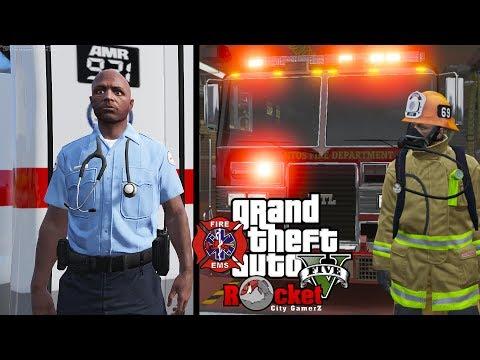 GTA 5- LSPDFR EMS/FIRE LIVE | [ELS] MTL FireTruck | feat
