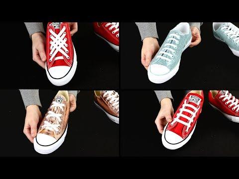 Schnürsenkel kreativ binden - eine Anleitung für verschiedene Arten, Schuhbänder zu schließen.