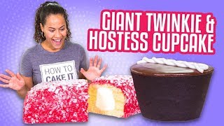 GIANT LUNCH BOX TREATS! Hostess Cupcake & Raspberry Twinkie | How To Cake It