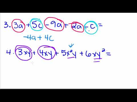 Algebra Tutorial - 4 - Combining Like Terms Mp3
