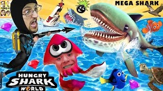 HUNGRY SHARK WORLD!  MegaMouth Sharks' Eat Everything, Even BOMBS!  FGTEEV Attack At Sea! HEHE