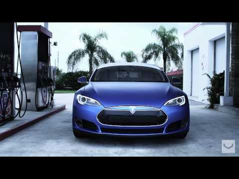 "Tesla Model S on 22"" Vossen CV1 Concave Wheels   Rims"