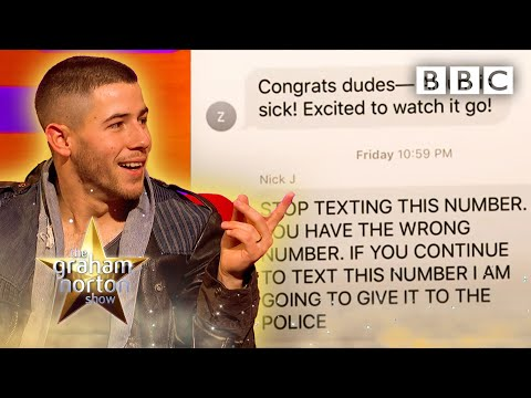How a stranger got fed up of receiving texts meant for Nick Jonas ????@The Graham Norton Show ⭐️ BBC