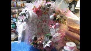 2019, Pink and white, Vintage Poinsettia Wreath