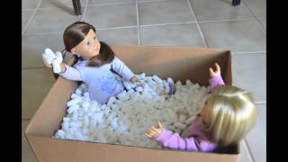 Playing in Packing Peanuts - Doll stop motion