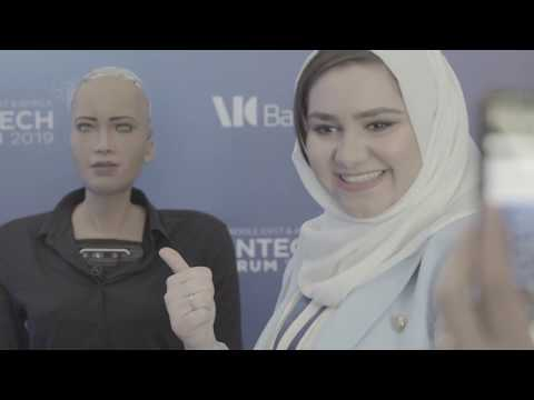 Introduction to MEA FinTech Forum 2019 with Sophia the Robot