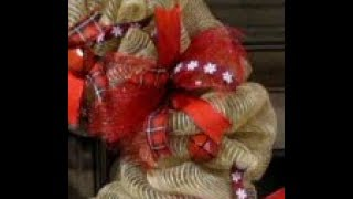 Christmas Burlap Deco Mesh Wreath