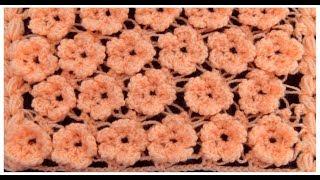 Como tejer con Ganchillo Crochet punto de flores en 3D para cobijitas tejido tallermanualperu