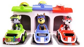 Learn Colors Videos for Kids: Paw Patrol Chase & Pups Car Race Rainbow Colored Garage