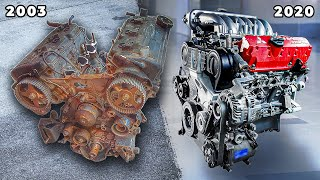Rusty to running: 20 year old V6 engine rebuild time lapse