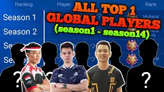 ALL TOP 1 GLOBAL PLAYERS FROM SEASON 1 TO SEASON 14 | MOBILE LEGENDS
