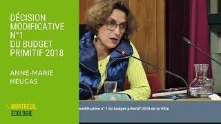 Décision Modificative n°1 BP 2018 : Anne-Marie Heugas CM 03/10/2018