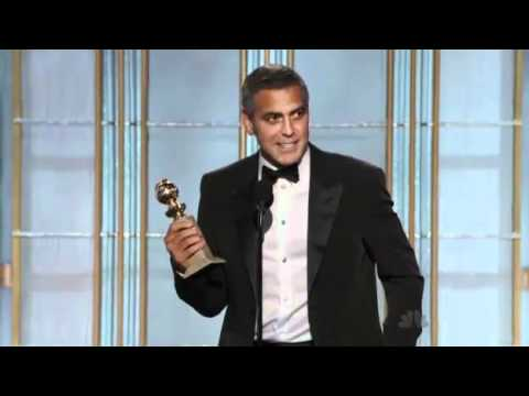 George Clooney winning a Golden Globe 2012 HQ