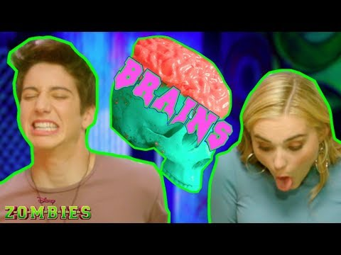 Zombie Brain Food Challenge 😋 | ZOMBIES | Disney Channel