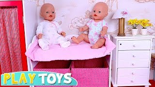How to Get Dressed Baby Born Twins for Stroller Ride in the Park! Baby Doll Pretend Play!🎀
