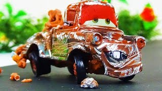 Mater Crash & Repair!  Disney Cars Toys Video for Kids Tractor Tipping