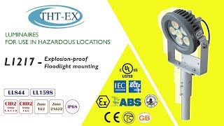 UL/ IECEx/ ATEX Explosion proof Floodlight Mounting-L1217, 360° Illumination!