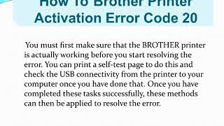 Steps for Brother Printer Activation Error Code 20