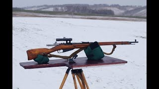 Стрельба  на 1000 м. /1000 meters 91/30 russian sniper rifle shooting (1944 Izjevsk+ PU)