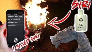 (I KILLED SIRI) DO NOT USE HOLY WATER ON SIRI AT 3 AM! DEFEATED SIRI WITH HOLY WATER   GIANT DRAGON