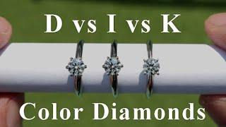 D vs I vs K Color Diamond Rings Comparison