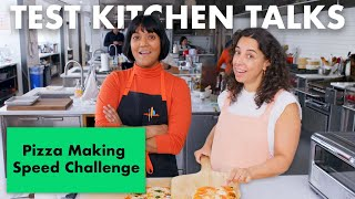 Join Sohla El-Waylly, Amiel Stanek, Alex Delany, Rick Martinez, Molly Baz, Brad Leone, Carla Lalli Music and Claire Saffitz for another episode of Test Kitchen Talks. Who can make a pizza from scratch the fastest in a pizza making speed challenge?  Want Bon Appétit shirts, hats and more? https://shop.bonappetit.com/?utm_source=youtube&utm_brand=ba&utm_campaign=aud-dev&utm_medium=video&utm_content=merch-shop-promo