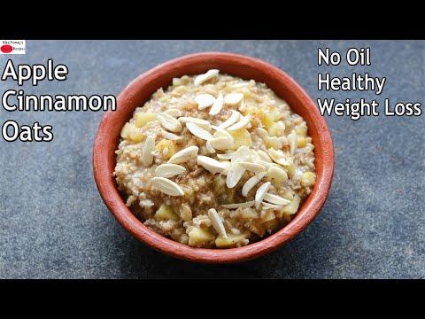 Apple Cinnamon Oats – No Oil – Healthy Oats Recipes For Weight Loss – Healthy Gluten Free Breakfast