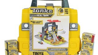 Tonka Tinys Construction Site Carrying Case Playset and Blind Box Unboxing Toy Review