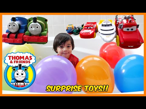 SURPRISE TOYS CHALLENGE Balloon Pop Disney Cars Bath Surprise Toys Thomas the Tank Engine Toy Trains