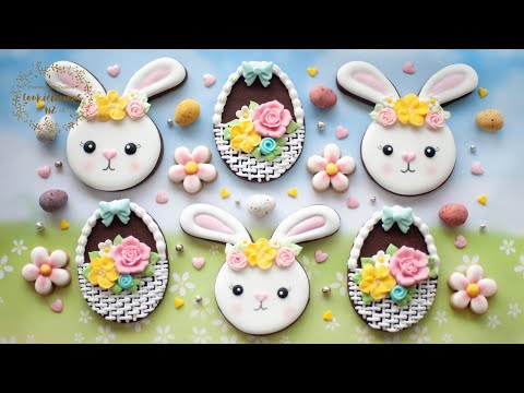 Easter Bunny Flower Wreath & Basket Weave Cookie ~ Learn to pipe BURLAP / WICKER Pattern with icing