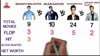 Sidharth Malhotra Vs Arjun Kapoor Vs Rajkumar Rao Vs Sushant Singh Rajput Comparison 2018 Biography
