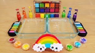Rainbow - Mixing Makeup Eyeshadow Into Slime! Special Series 96 Satisfying Slime Video