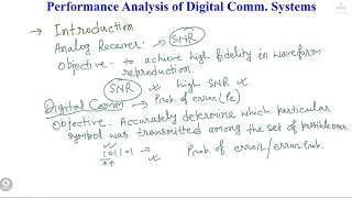 L40 : Performance Analysis of Digital Communication Systems Part1 [In Hindi]