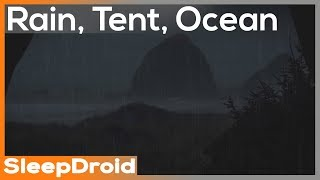 ► Rain in a Tent by the Ocean ~Rainstorm and Ocean Wave Sounds for Sleeping, Night 10 hours (lluvia)
