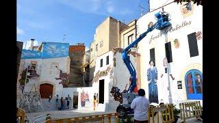 """Pintura mural en Cubelles de la """"festa major"""""""
