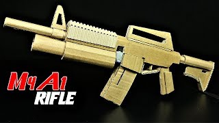 How To Make A Cardboard Fully Automatic M4A1 Rifle That SH00TS