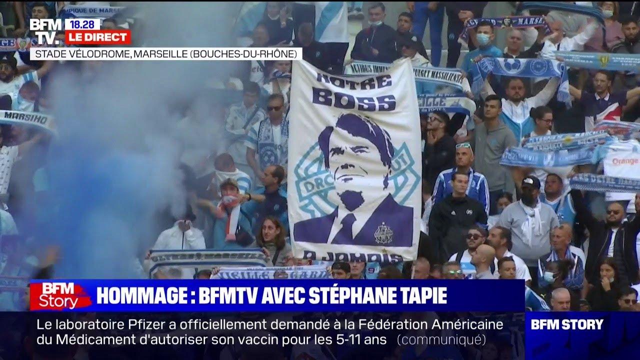"""Hommage à Bernard Tapie: """"We are the champions"""" résonne dans le stade Vélodrome"""