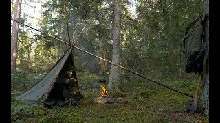 Bushcraft Tripod Shelter   Alone With A Canvas Poncho Deep In The Swedish Wilderness