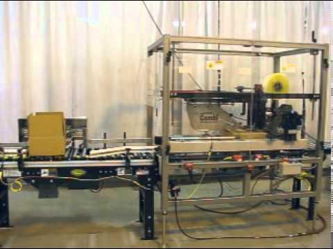 Selladora de cajas TBS-100FC para cajas tipo CSSC y con rotador de cajas.