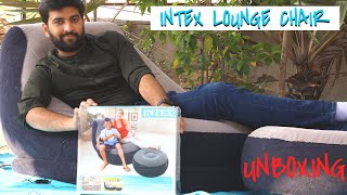 Intex Inflatable inflatable lounger Chair with ottoman 68564 Unboxing (Hindi)
